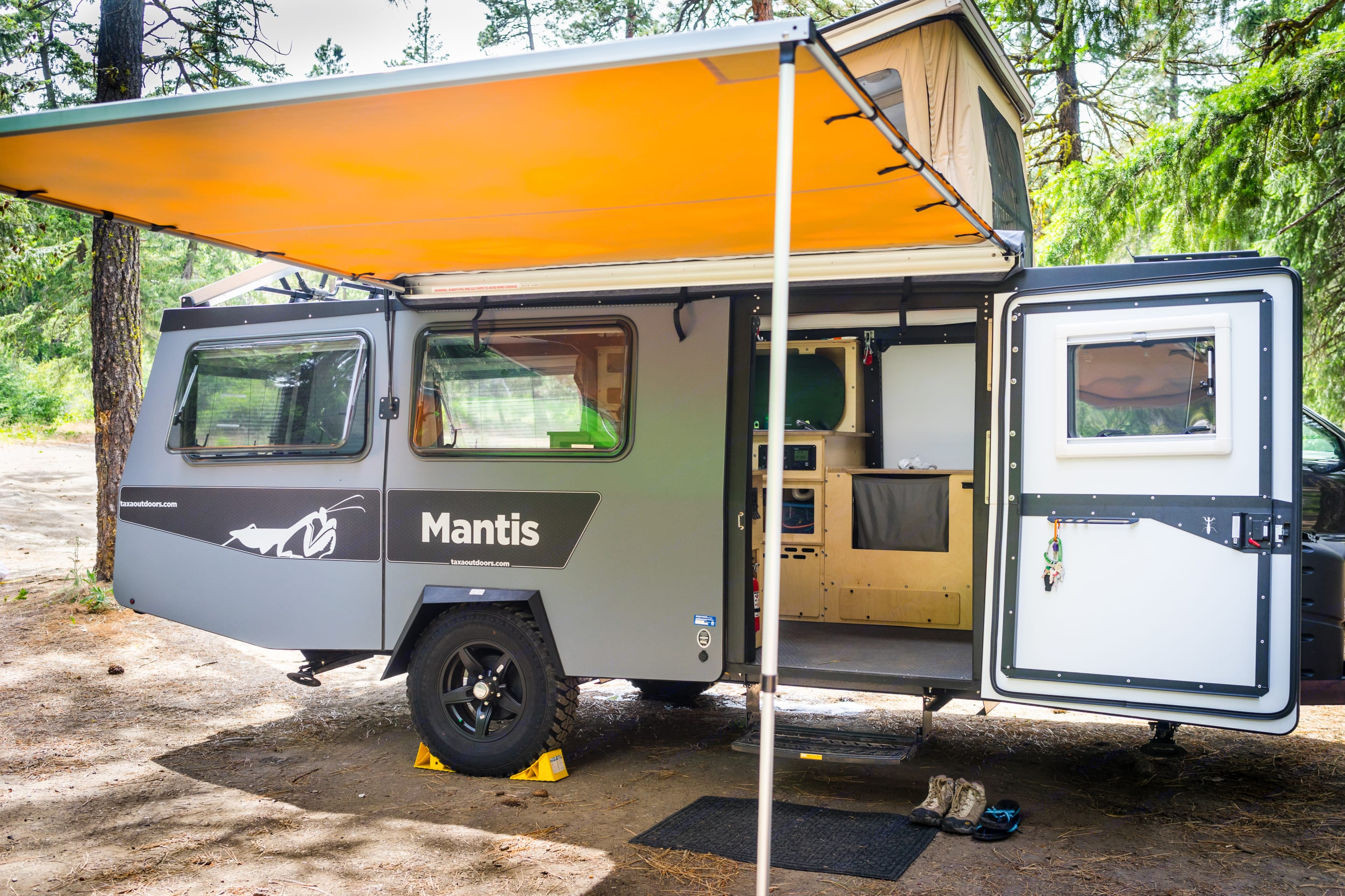 Mantis with roof up and awning extended.. TAXA Outdoors Mantis Camper 2018