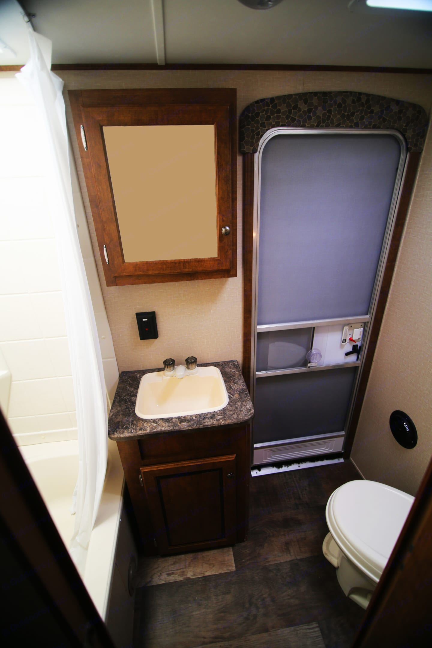 Shower/Tub Combo with Angled Toilet and Easy In-and-Out Access through the bathroom's private door. Crossroads Z1 SBH28 2016