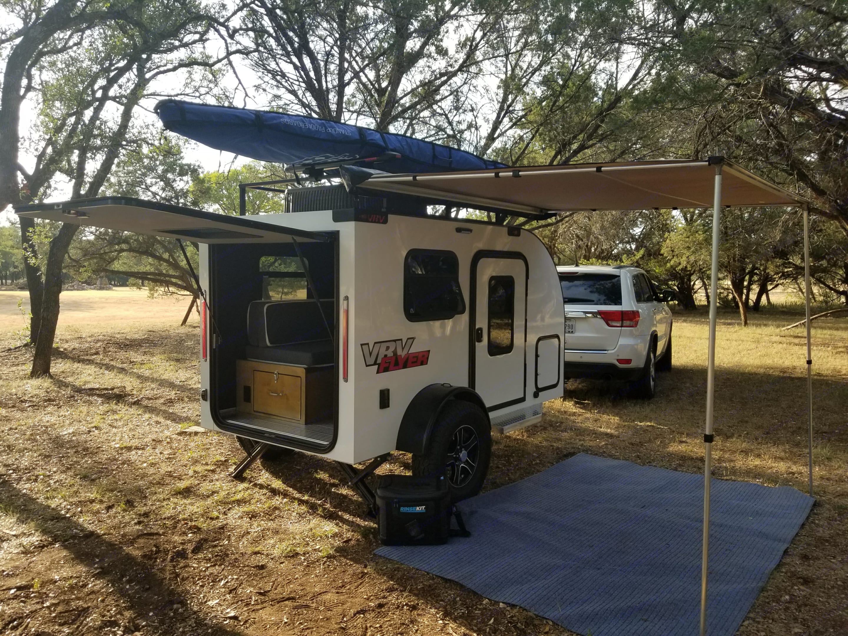 The whole setup, paddle board pictured.. Custom Teardrop Camper 2018
