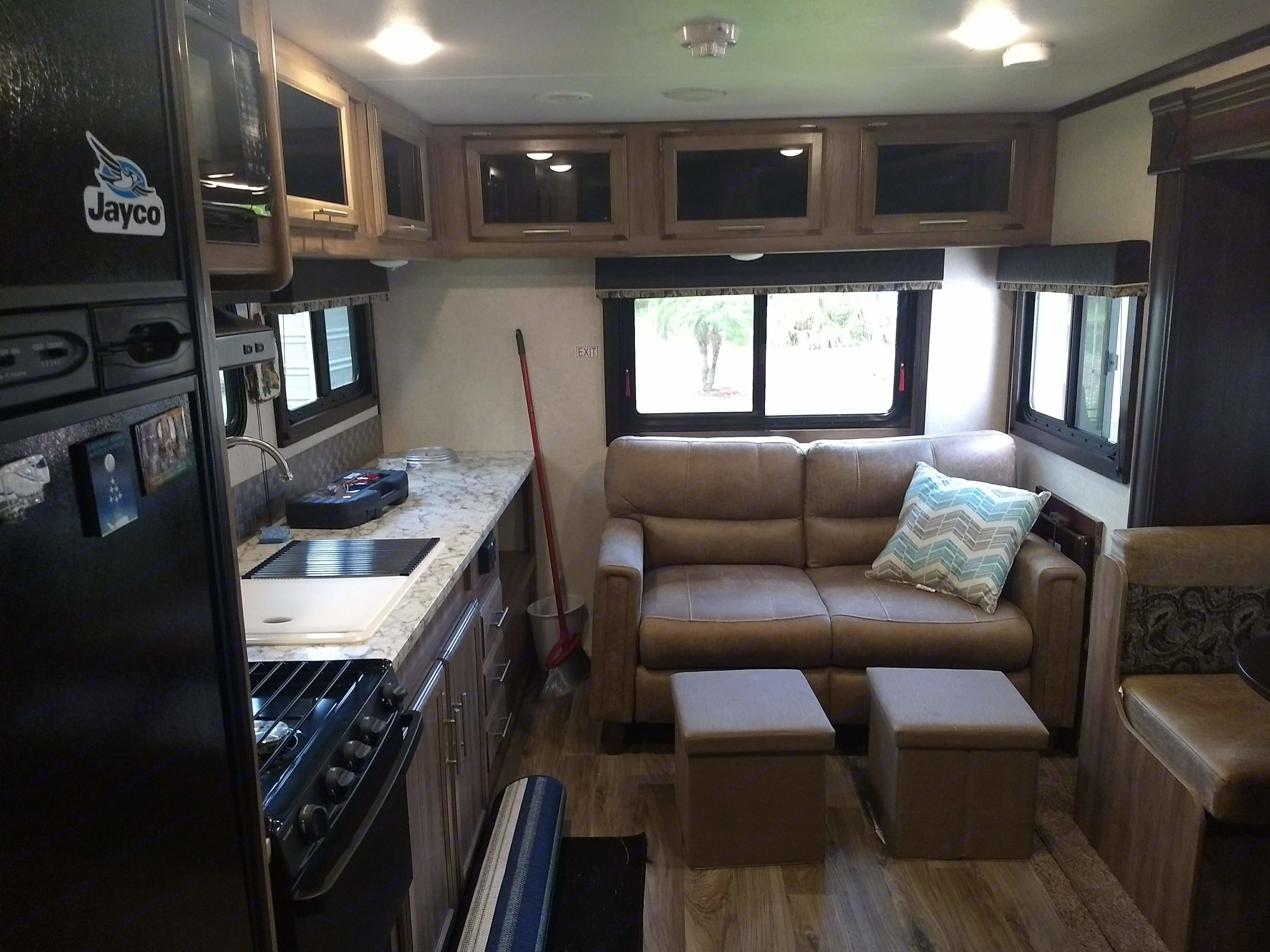 From front entrance to back of living area. Jayco Jay Feather 2018