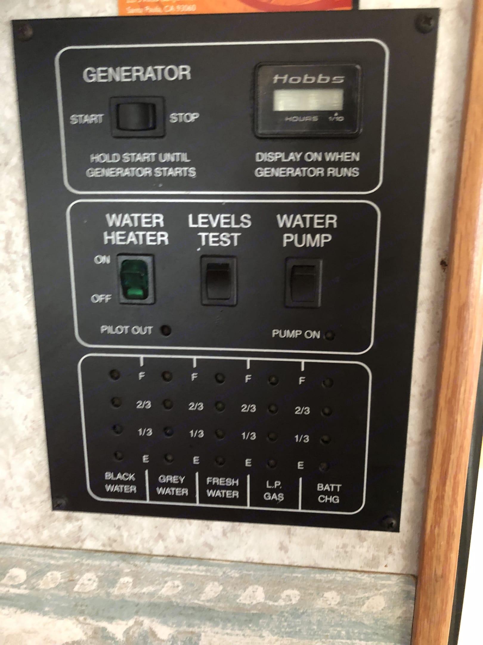 Control panel . Winnebago Minnie Winnie 2001