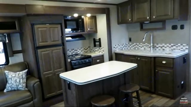Beautiful kitchen with Refrigerator, stove, oven and Microwave. Rockwood Signature Ultra Lite 2017