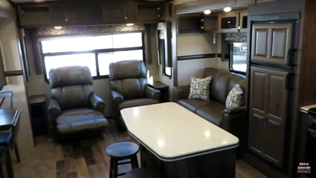 Kitchen Island and Lazy Boy seats. Couch has queen size pullout bed. Rockwood Signature Ultra Lite 2017