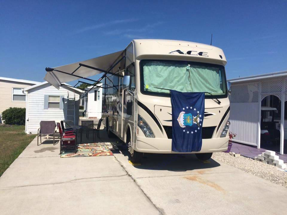 push button awning with LED lights built in. Thor Motor Coach A.C.E 2016