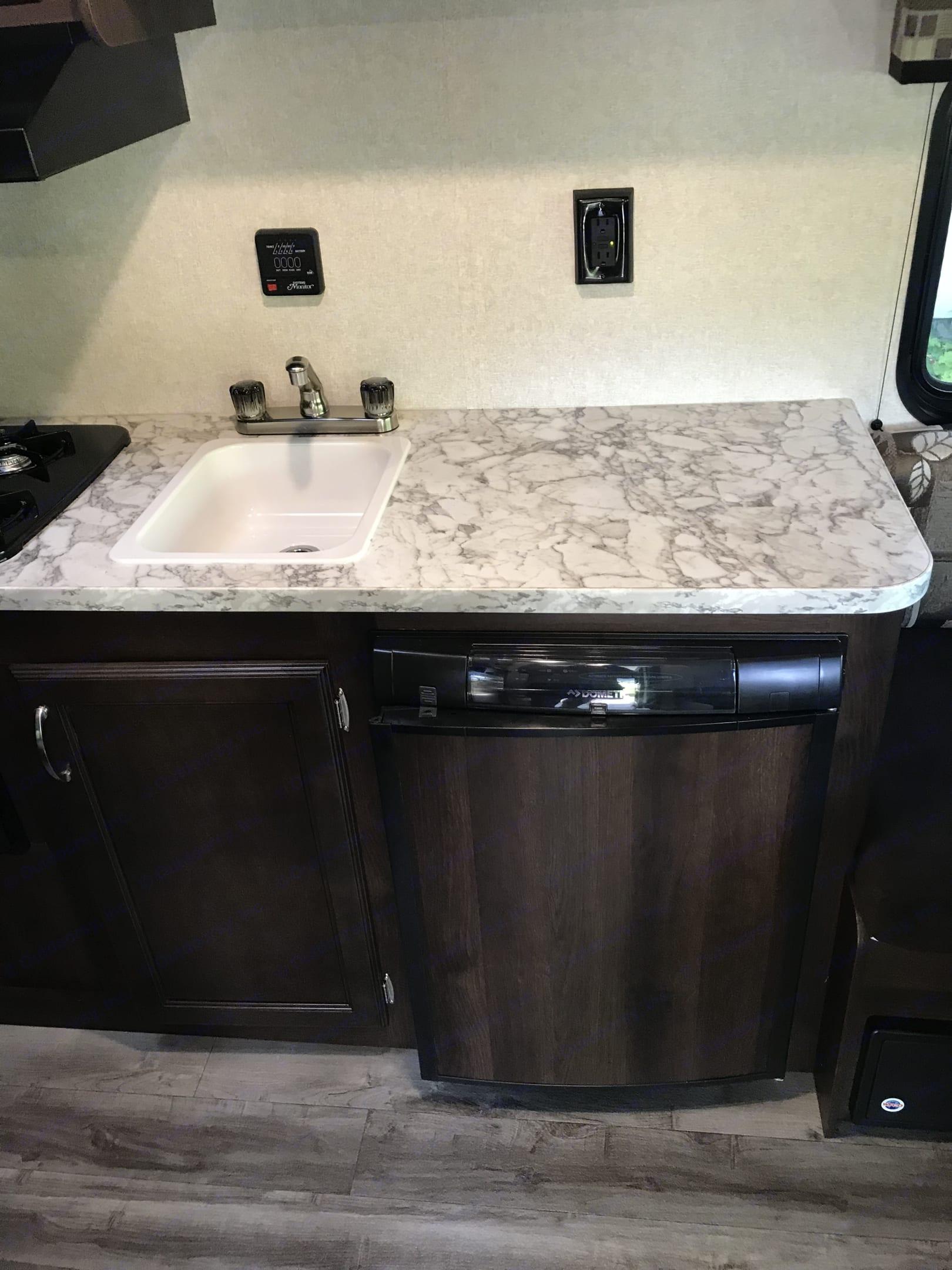 Full kitchen counter and top of fridge! . Jayco Jay Flight 2018