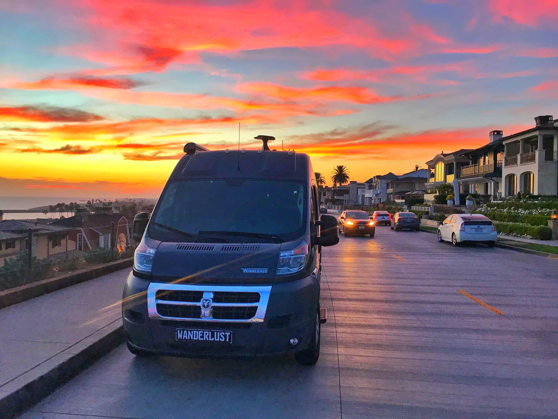 The Wanderlust RV relaxing in an amazing Southern California Sunset. . Winnebago Travato 2019