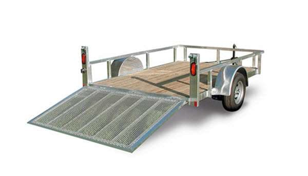 Stock photo, but actual is the same except for mine has a tongue mounted tool box (lockable) and my rear ramp just has cross slats... no mesh floor on the ramp... so it tends to be slippery when wet, so USE CAUTION. 6x10 wood bed floor with 4 tie down points. Tows greats & fairly light weight. Flat 4 wiring. . Forest River aluminum utility 2012