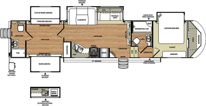 Spacious floor plan. Forest River Heritage Glen Lite 2016