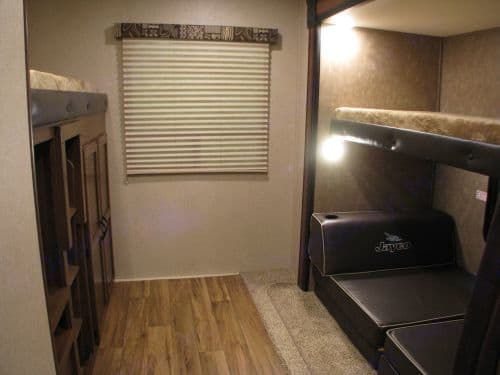 Large bunk house.  2 solo upper bunks  1 solo lower or full large floor area. Jayco Jay Flight 2017