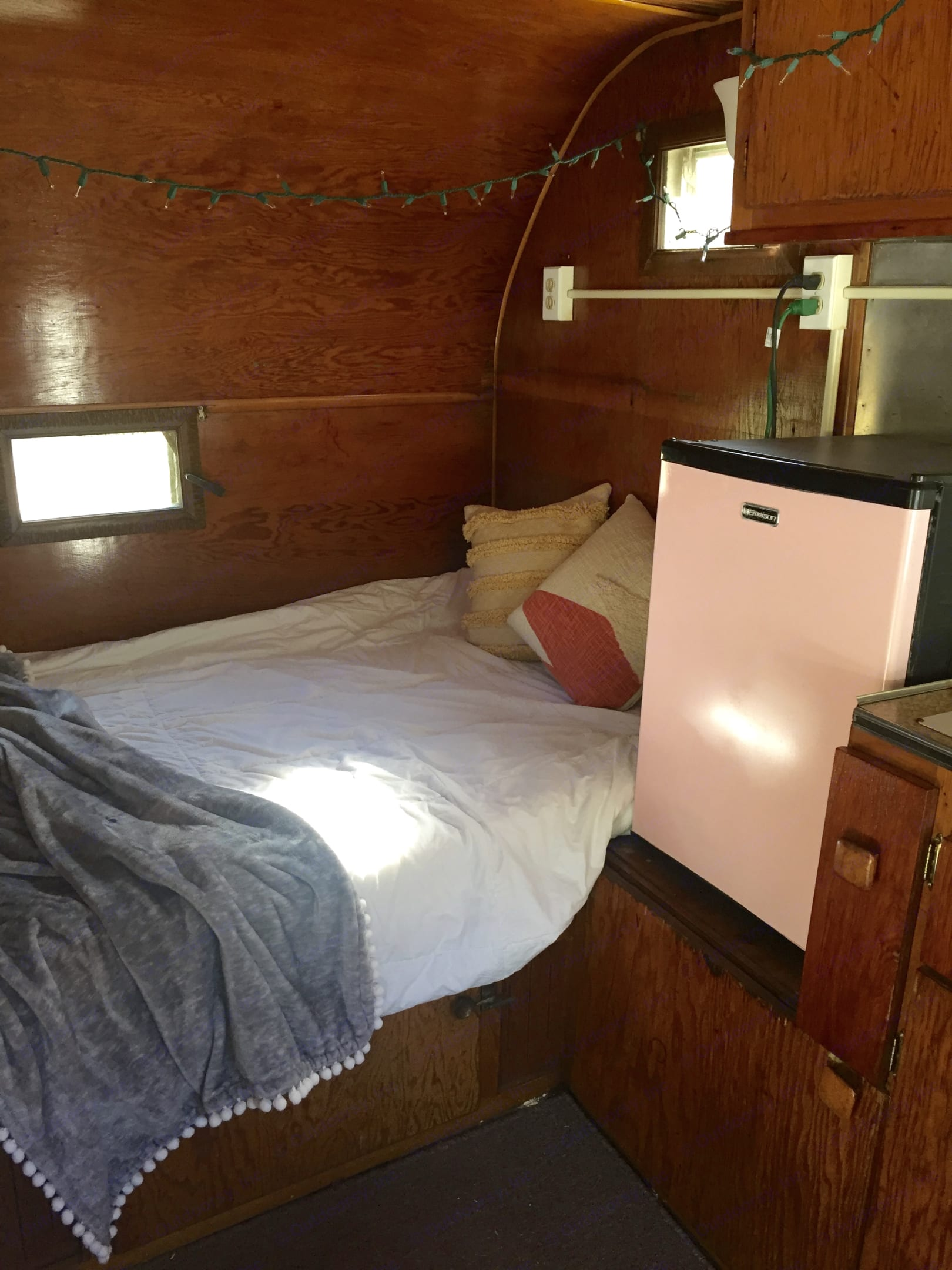 Bed area with a new mattress that sleeps 2 adults.  . Thor Motor Coach Citation 1959