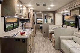 View of the Interior with the two sliders out. Thor Motor Coach A.C.E 2018