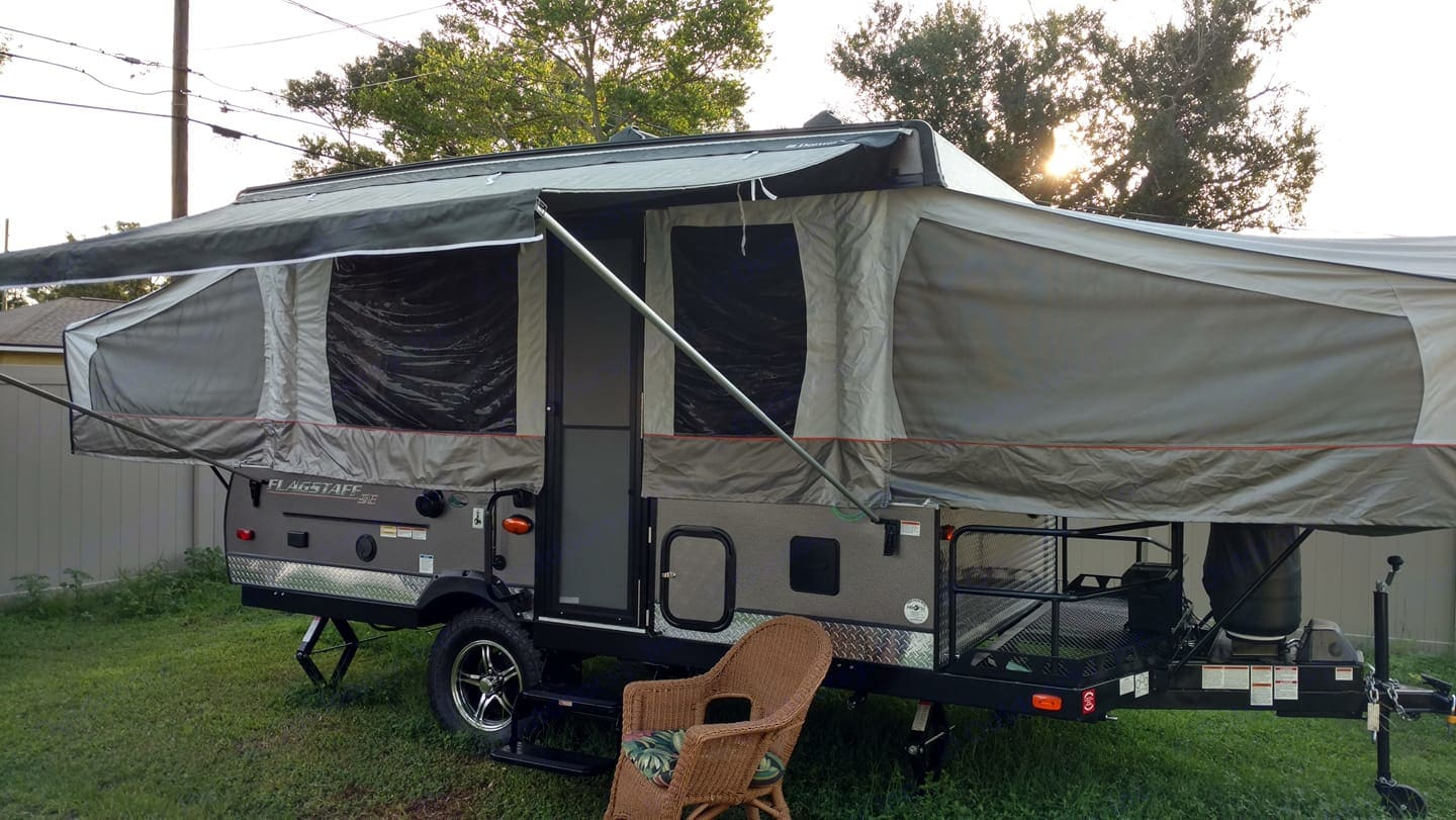 Exterior of our brand new 2018 Forest River Flagstaff Extreme Sports Enthusiast Pop Top Camper. Dual Propane Tanks and Front-end Platform to haul sports equipment.. Forest River Flagstaff SE 2018