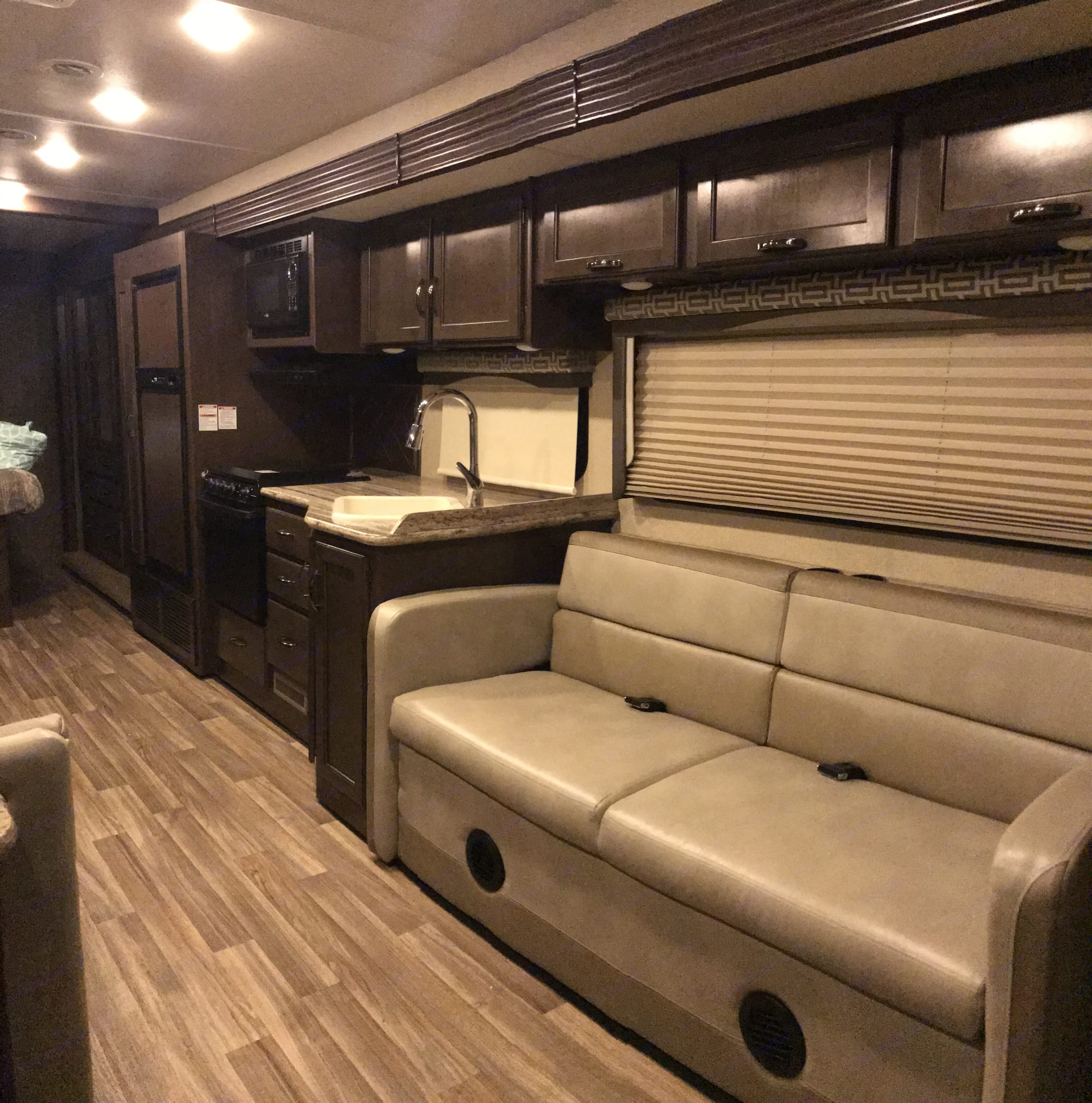 Sleeper sofa You can fold into bed or buckle up enjoy a movie on the TV using the blu-ray player or antenna channels.. Thor Motorcoach ACE 29.3 2017