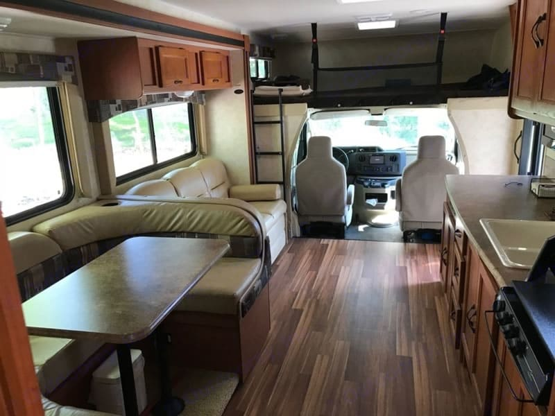 Spacious Interior - Dinette Seating and Couch. Coachmen Freelander 2013
