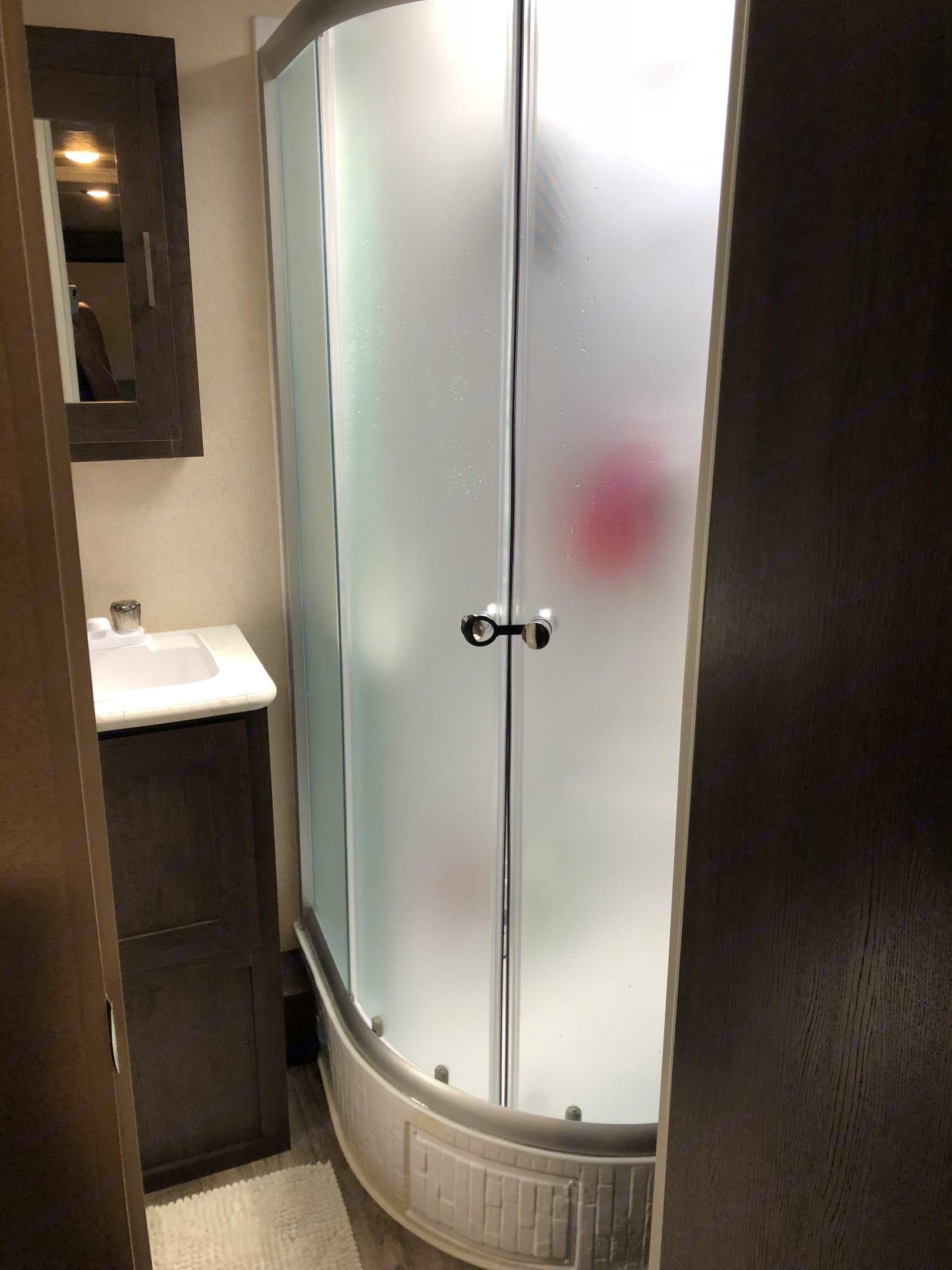 Nice roomy corner shower. Forest River Salem Cruise Lite 2018