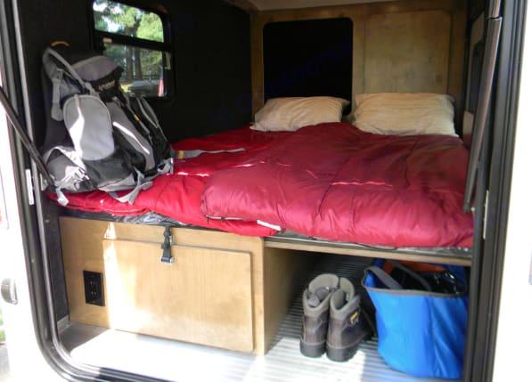 Bed folded out.. Custom Teardrop Camper 2018