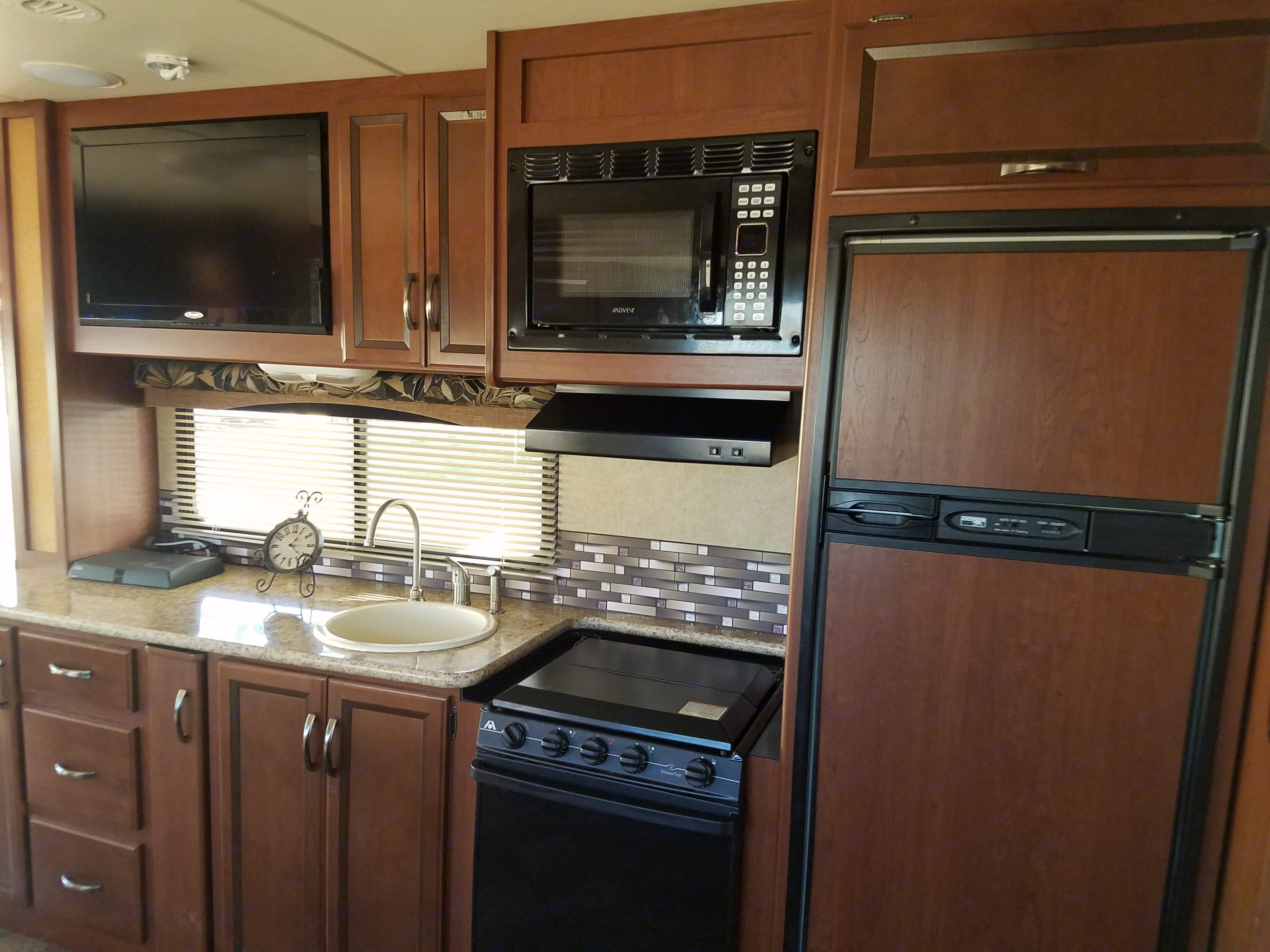 Kitchen amenities with a large tv.. Thor Motor Coach A.C.E 2014