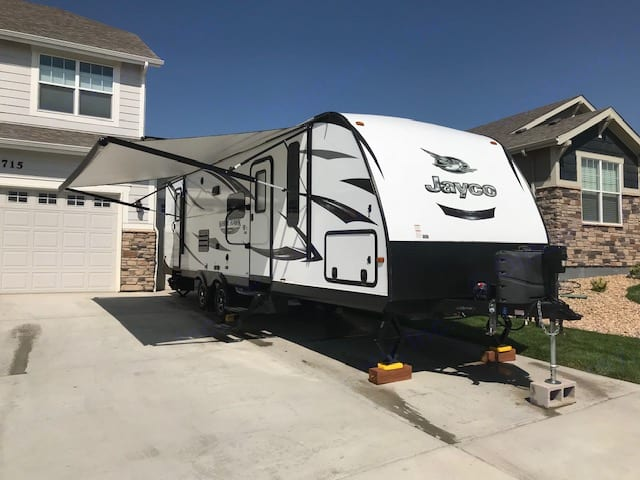 Front pass through storage compartment.  . Jayco White Hawk 2016