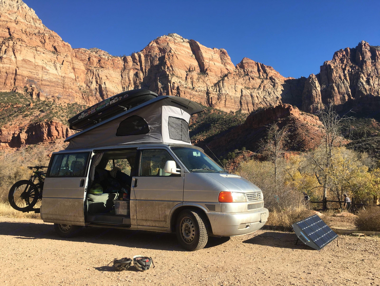 Van with all accessories fits into small camp spot.. Volkswagen Eurovan Weekender 2002