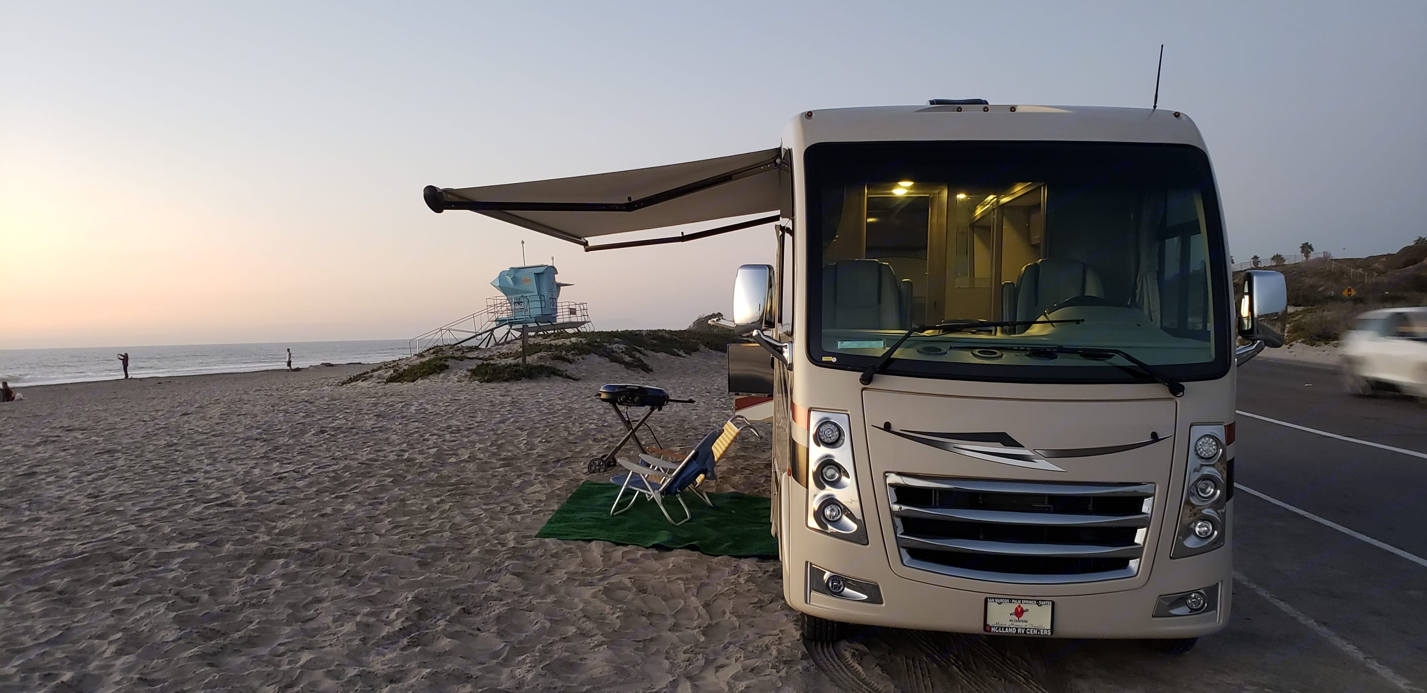 Push button awning fully extends in 30 seconds.. Thor Motor Coach Vegas 2018