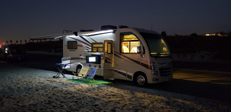 A soft awning light illuminates your relaxation area.. Thor Motor Coach Vegas 2018