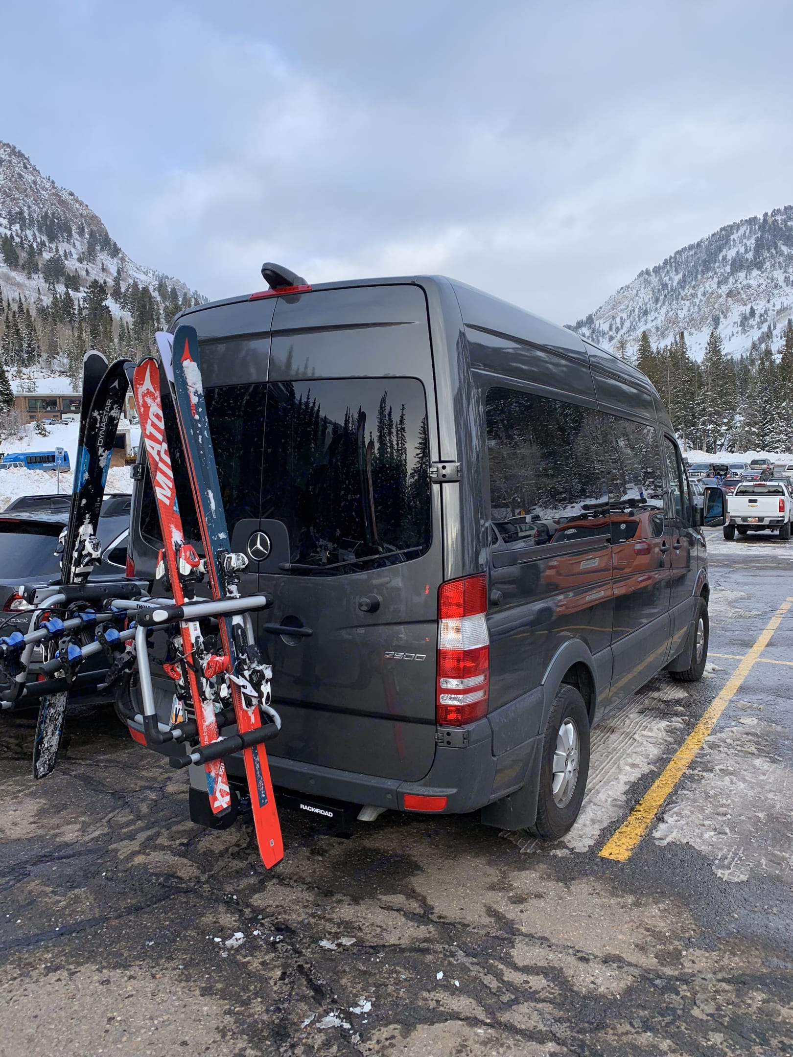 Ski Rack available as an add-on . Carries 6 skis or 4 snoboards.. Mercedes Sprinter 2018