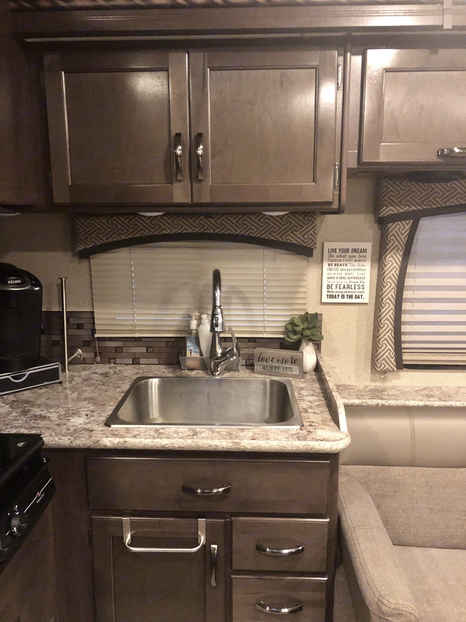 The gourmet RV kitchen has plenty of storage and space to cook.  Don't forget your K-cups because we also include a Keurig.. Thor Motor Coach Chateau 2018