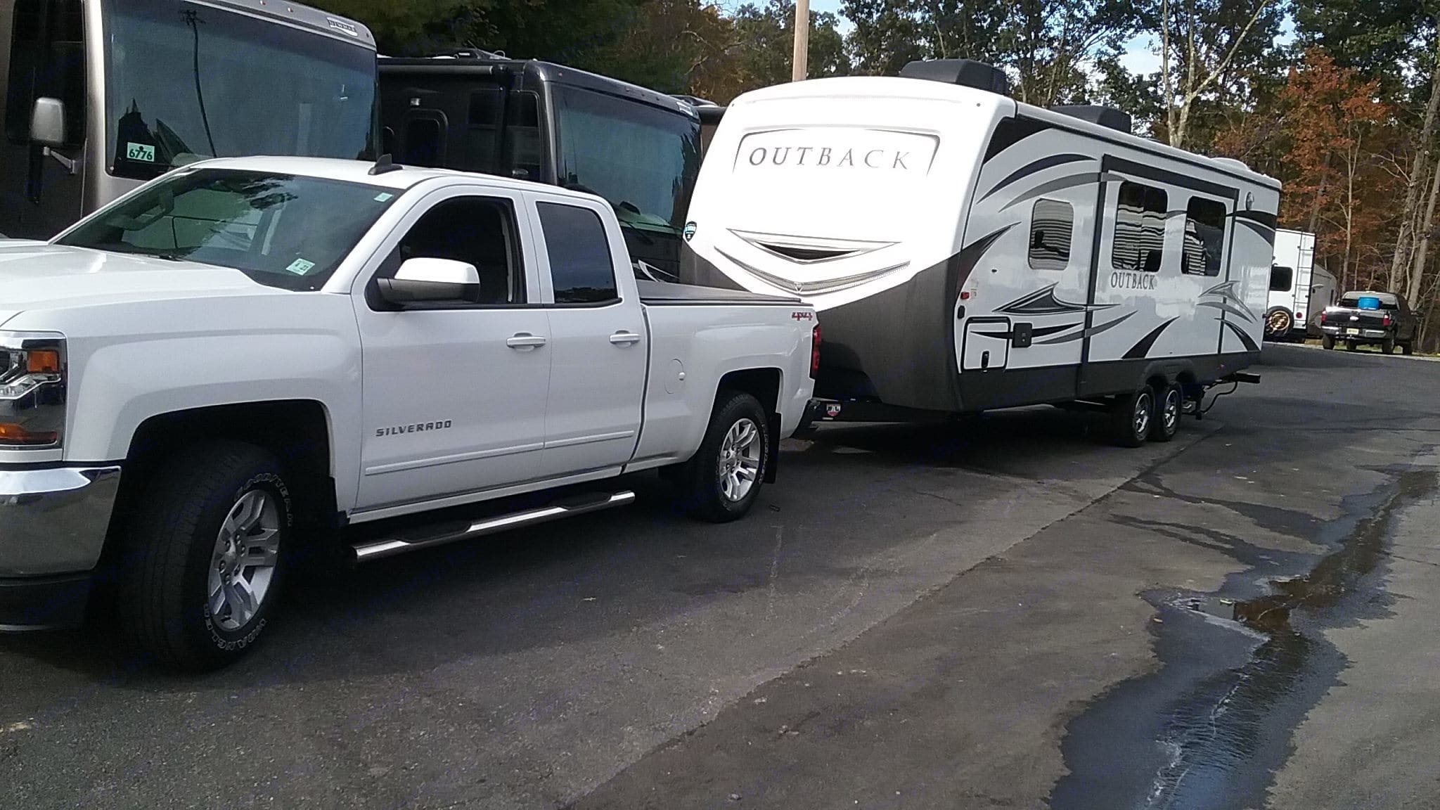 RV with truck. Keystone Outback 2018