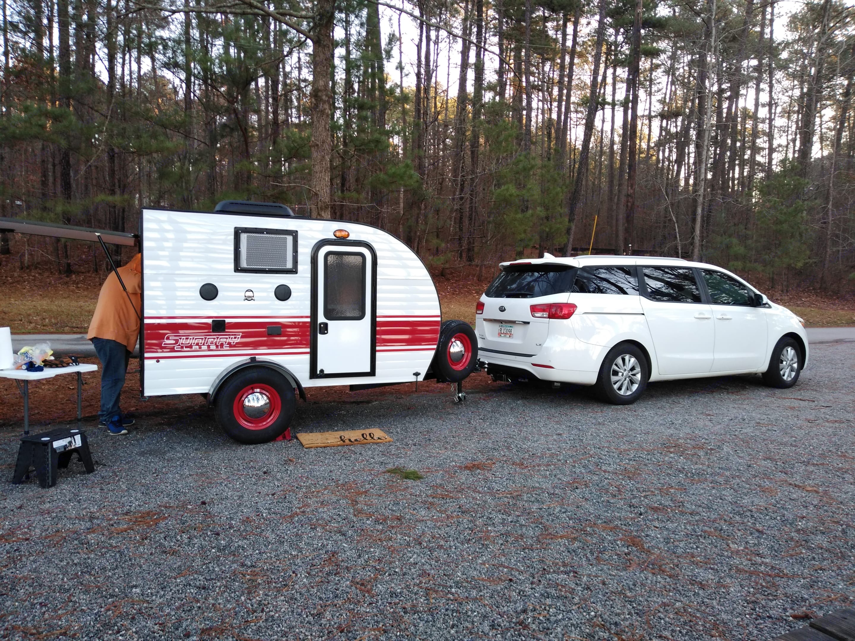 Tiny teardrop rental. All inclusive. All supplies fit neatly in this darling camper. All you need to pack is your sleeping bag, pillow, clothes and food. . Sunset Park & Rv Inc. Other 2019