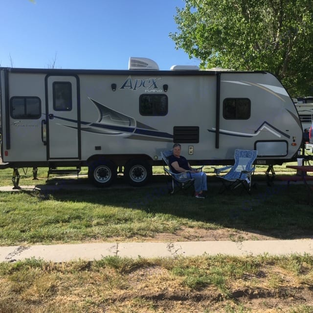 Camping at Cheney fits in small spots nicely.. Coachmen Apex 2018