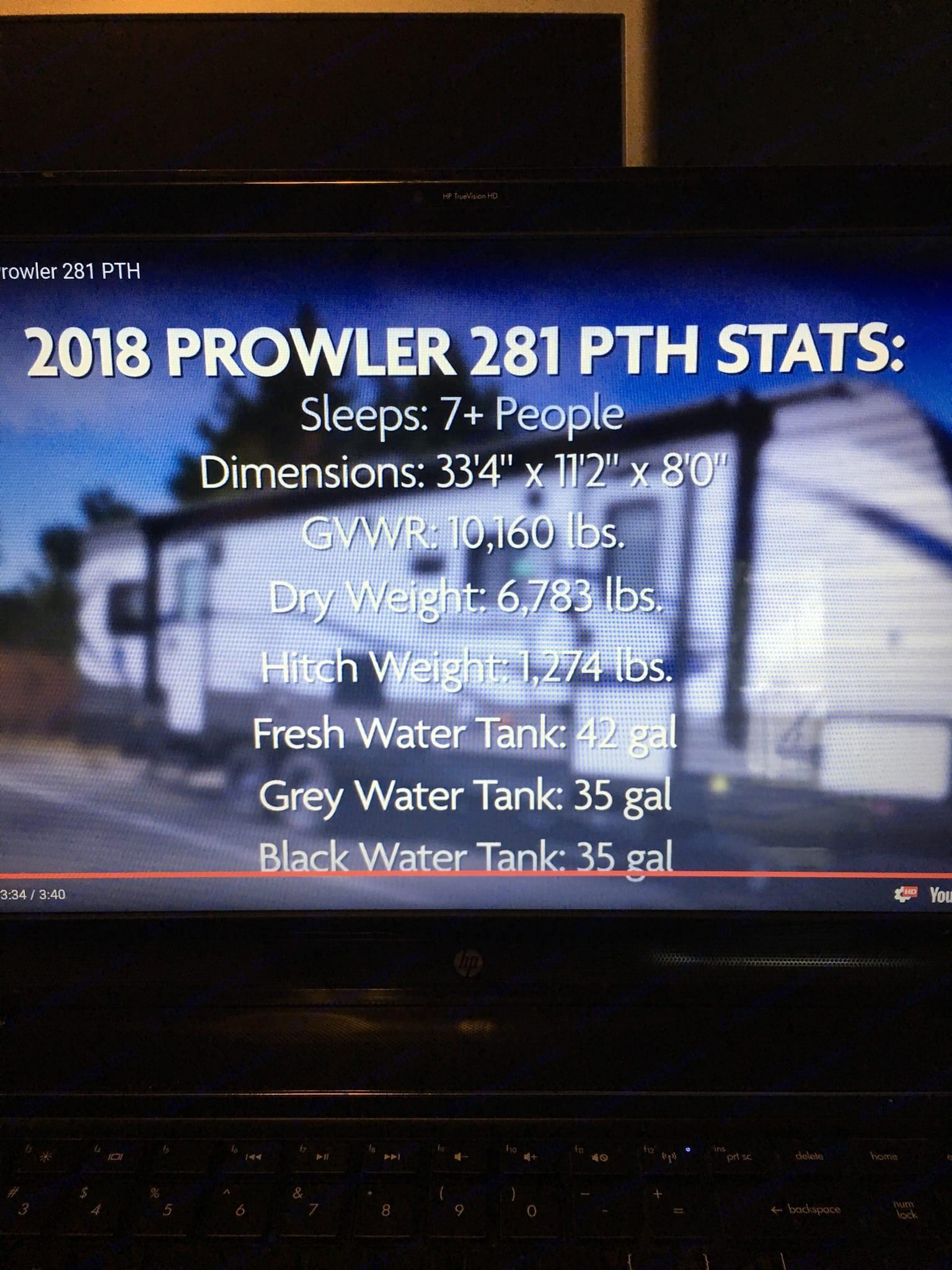 Stats. 2 doors. . Heartland Prowler 2018