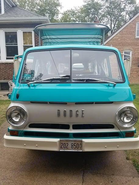 The split-window front of the CampWagon.. Dodge CampWagon 1967