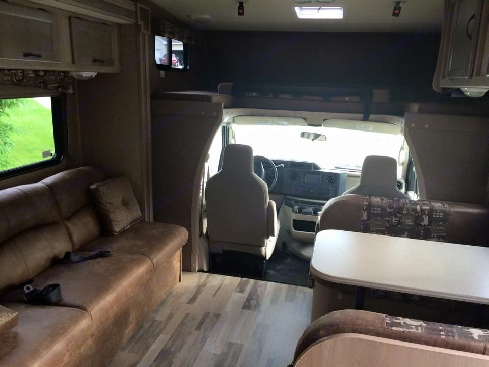 Couch, table and loft. Coachmen Freelander 2015