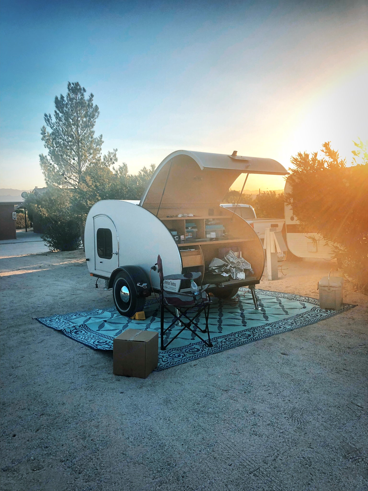 A perfect setup for one or two people. Everything you need stores ferfecy inside of this teardrop and is a grease to set up . American Teardrop Travel Trailer 2009