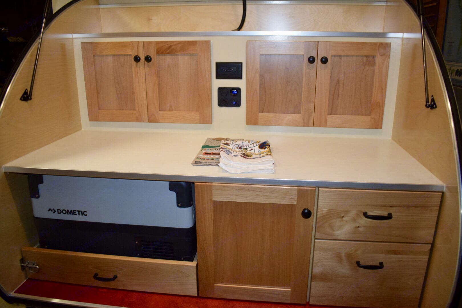 Kitchen Galley area.  Includes lights and stereo speakers!. Other Teardrop 2019