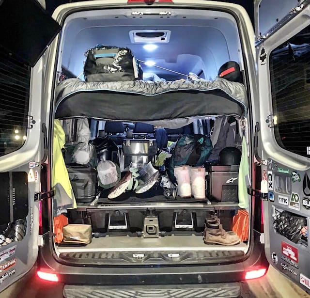 Loaded up & ready for a road trip to Mammoth!  . Mercedes Benz Sprinter 2500 2018