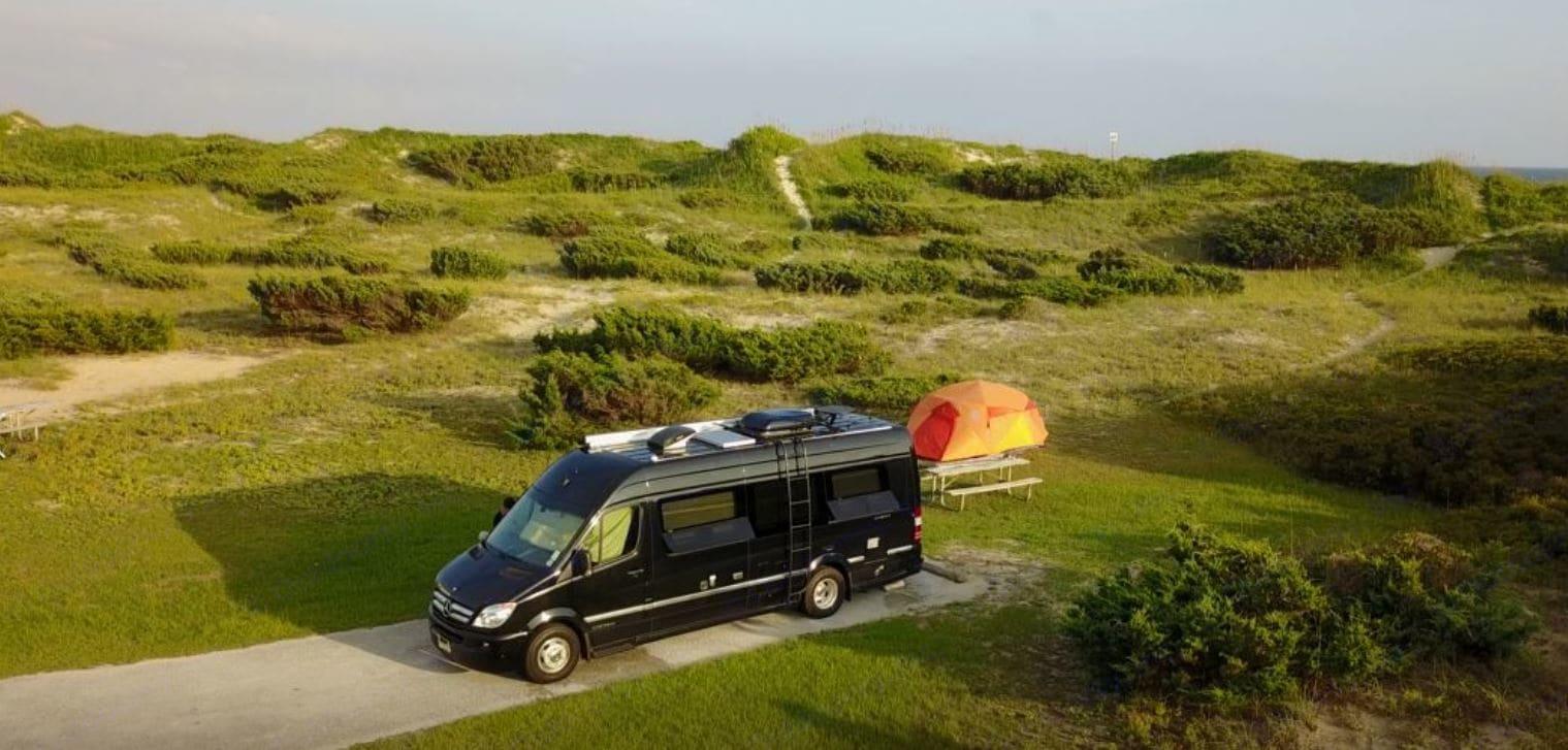 Ocracoke National Seashore + Halo 4 Person Tent. Airstream Interstate 2017