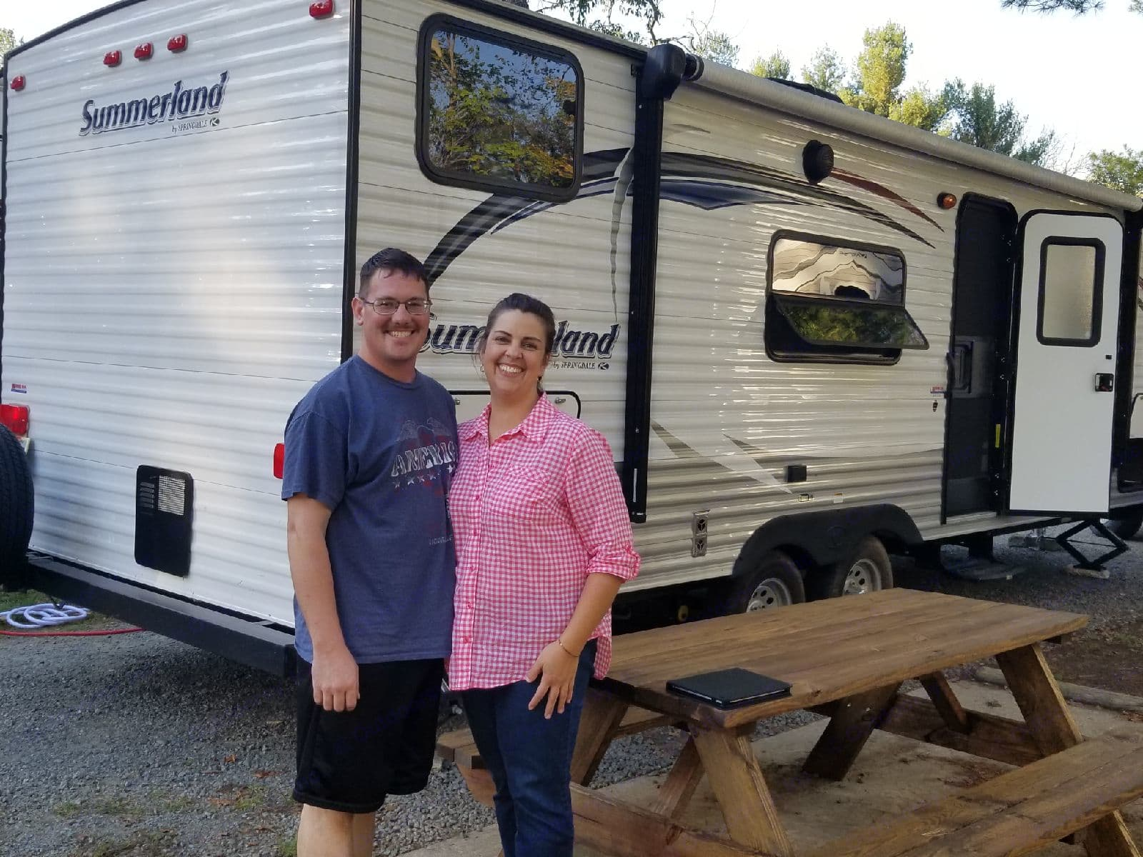 My wife and I on our first RV trip. Keystone Springdale 2016