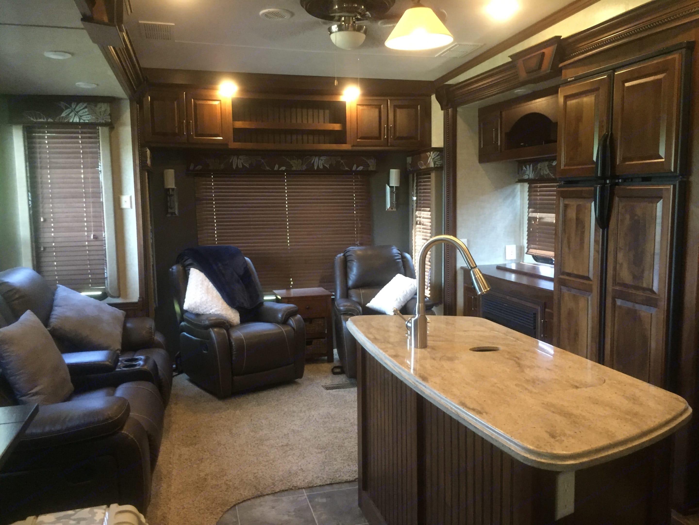 Living Area, reclining love seat and 2 swivel recliners. Keystone Alpine 2015