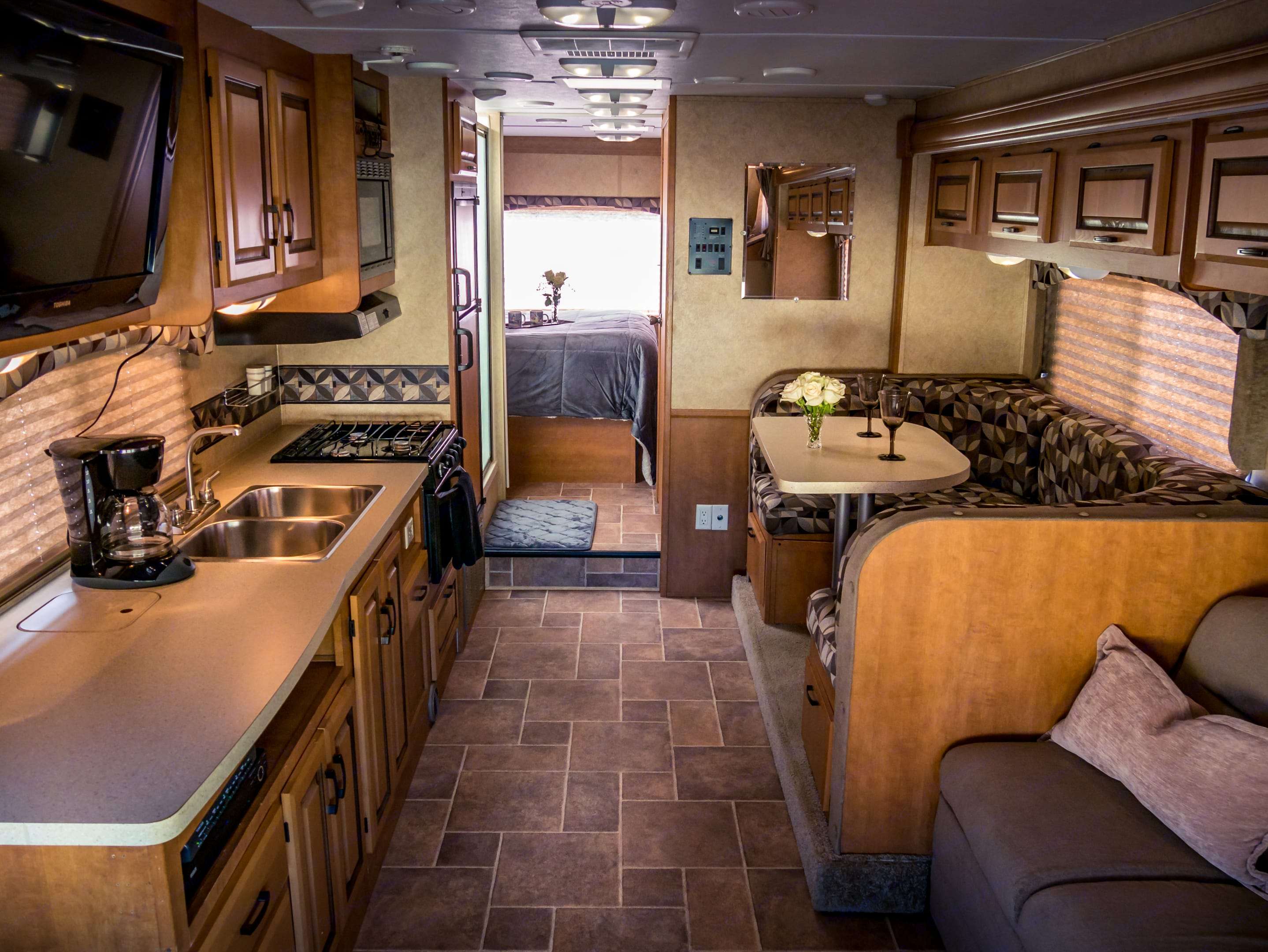 Plenty of counter space in the spacious galley / living area with the slideout.. Forest River Sunseeker 2012