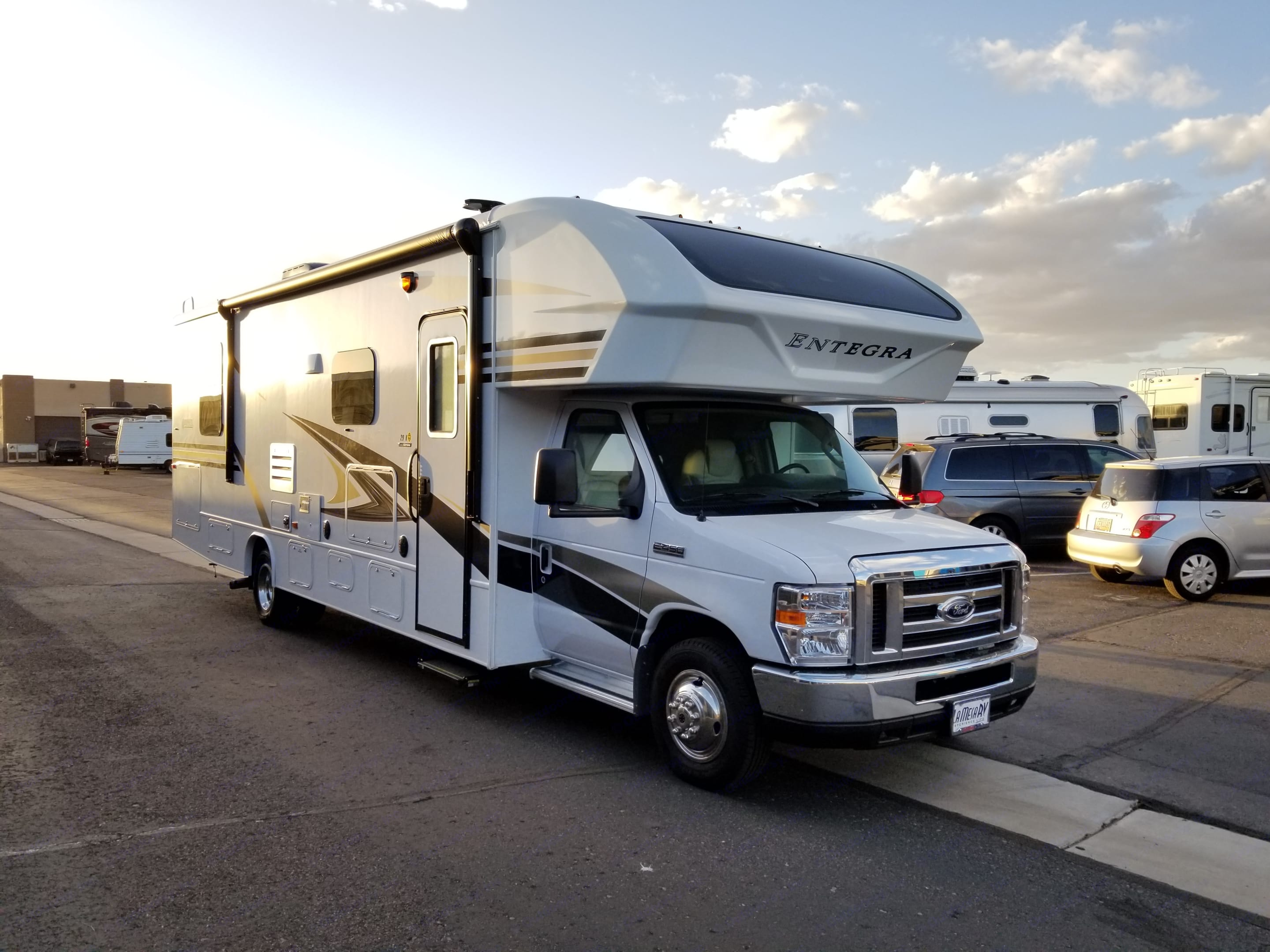 Right side of RV. Awning in.. Jayco Entegra Odyssey 29k 2019