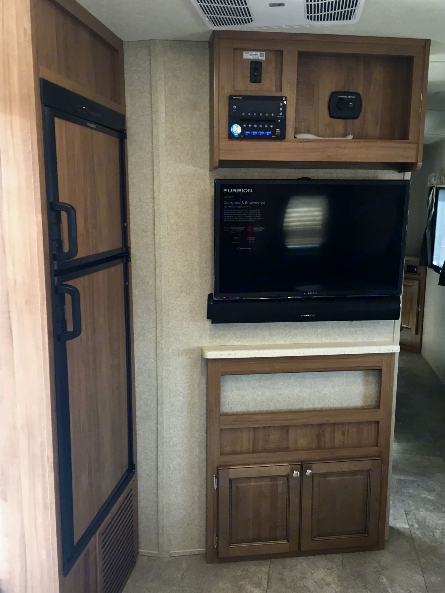 Separate refrigerator and freezer, tv with DVD player . Forest River Flagstaff Micro Lite 2018