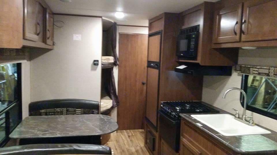 Kitchen, dinette, and bunk beds. Jayco Jay Flight SLX 264BHW 2016
