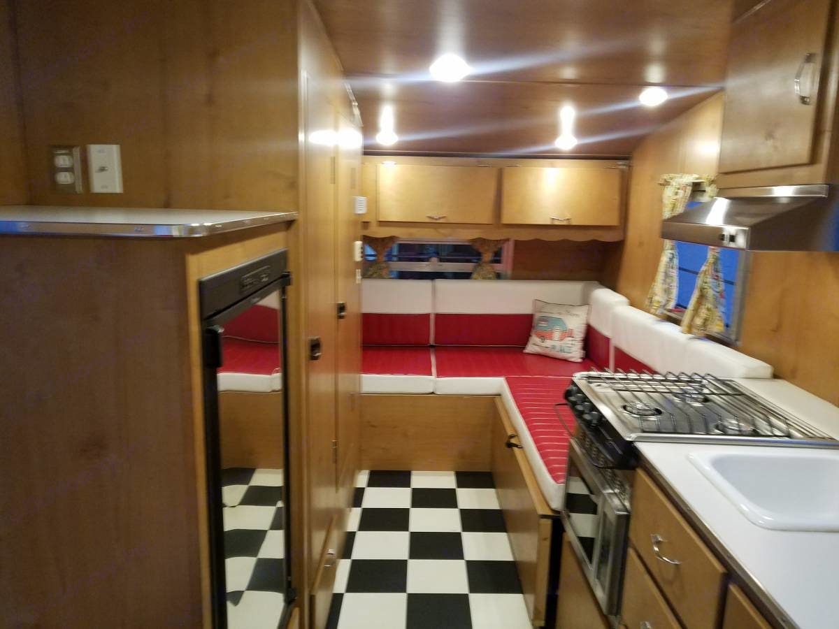 Fabulous interior with birch wood and LED lighting . Shasta Airflyte 2016