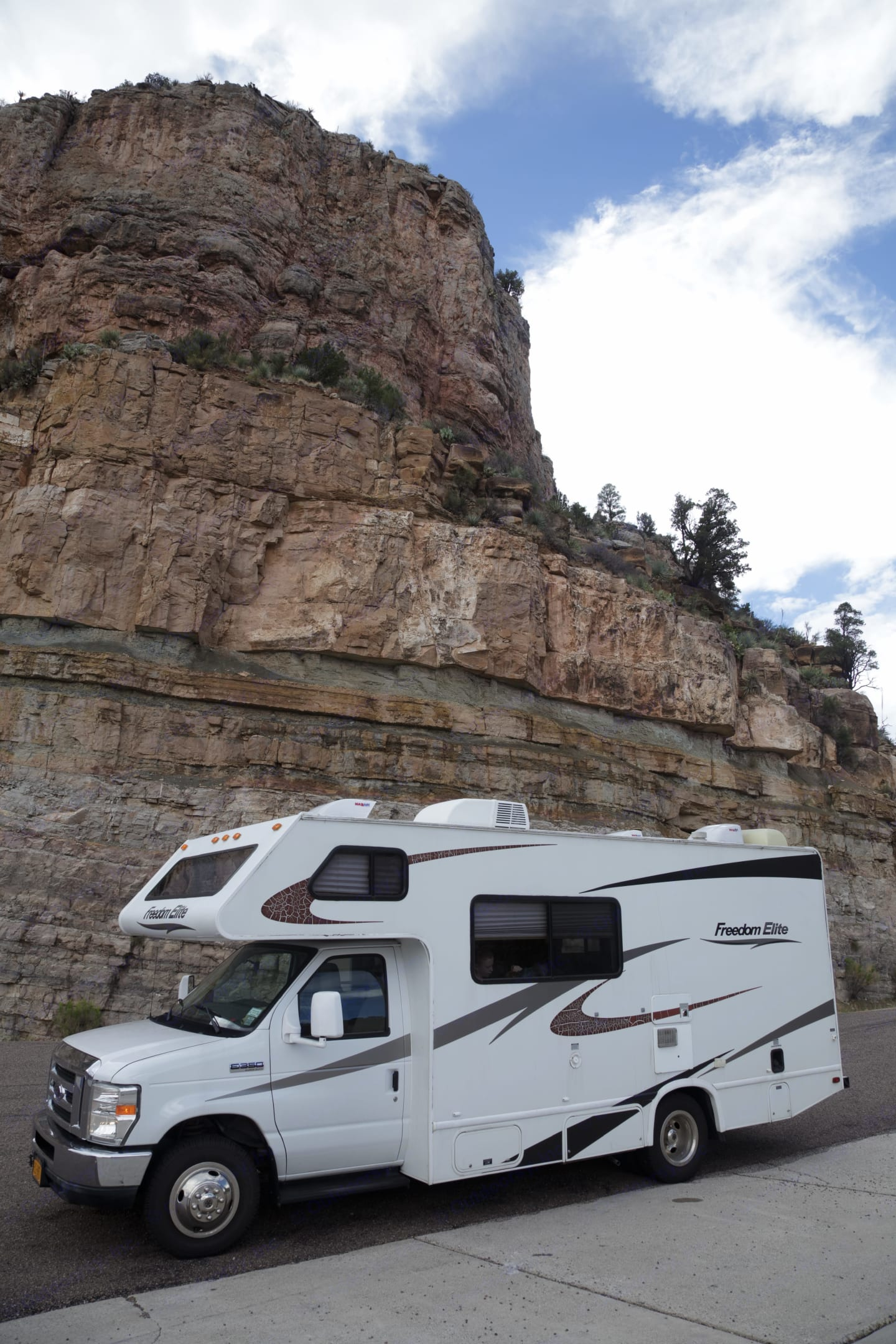 On our way from Petrified Forest National Park to Tucson. This was along the Salt River valley.. Thor Motor Coach Freedom Elite 2011