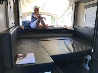 photo of the 2 queen beds with tent pushed out.. Livin' Lite Camplite 2018