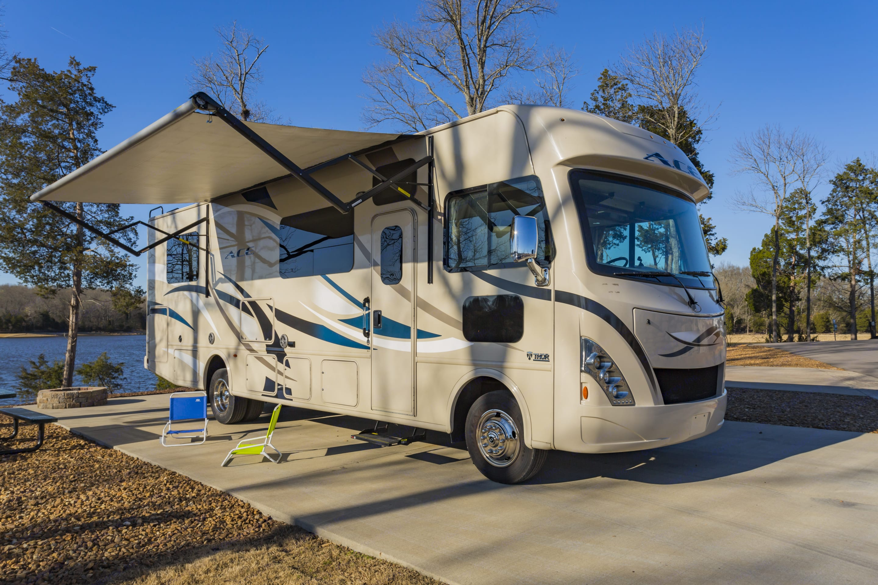 Shown here set up with awning extended.  Set up some camp chairs and relax.. Thor Motor Coach A.C.E 2017