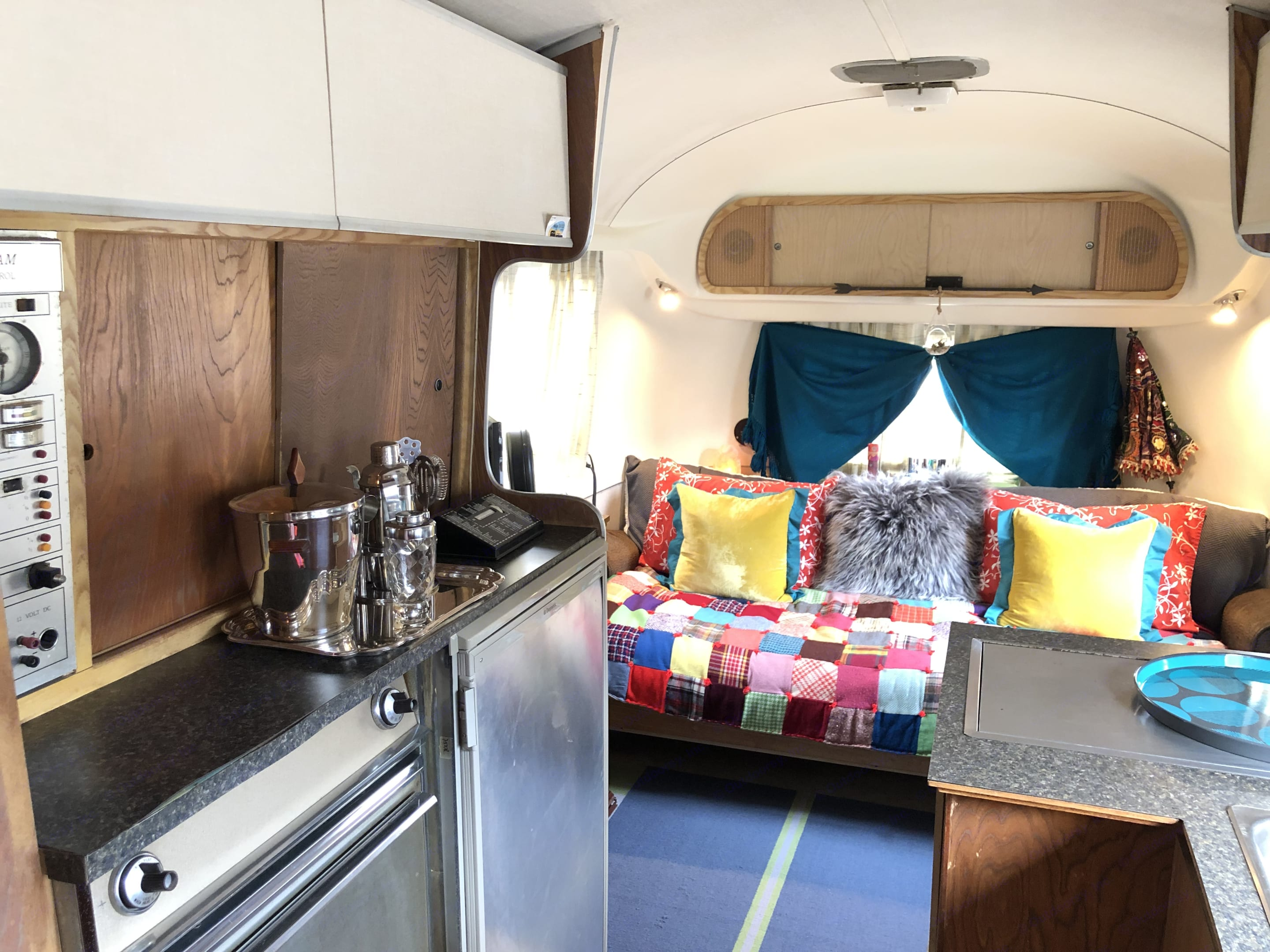 Fully functioning kitchen with gas/electric refrigerator.. Airstream Overlander 1968