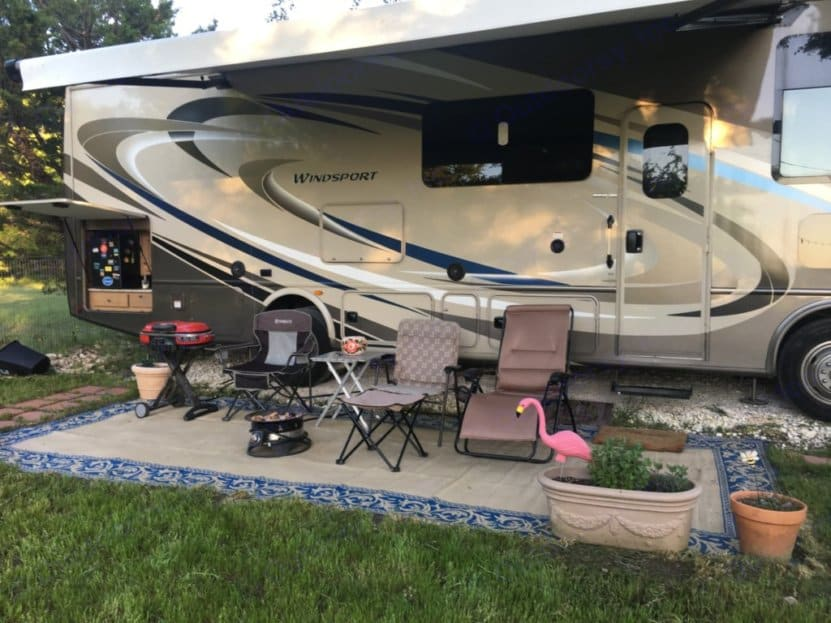 Home sweet home.  Enjoy a luxurious motor coach with outdoor amenities.  Not only does this unit have outdoor TV and kitchen, the propane outlet powers the included firepit and grill to allow 'Clamping' at its finest . Thor Motor Coach Windsport 2018