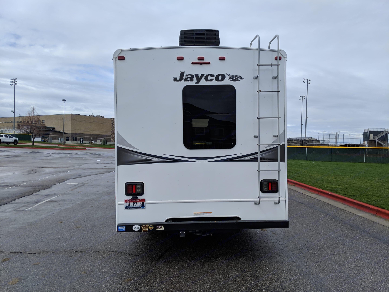 Rear view shows second AC unit.. Jayco Greyhawk 2018